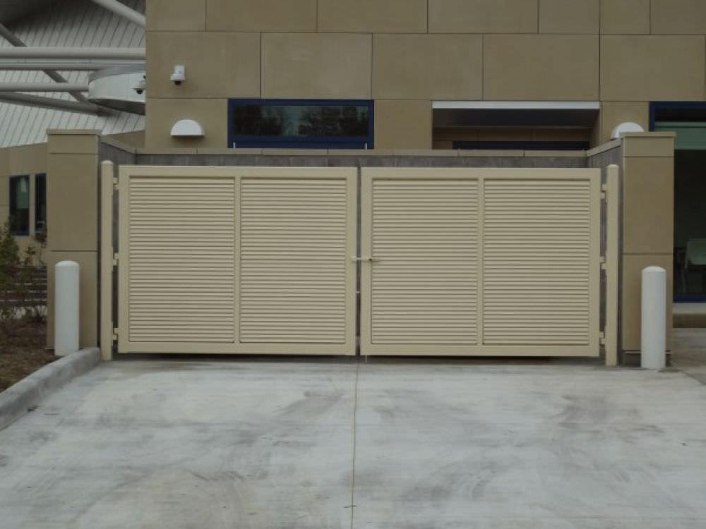 Double Swing Gates Shadow  Fixed Louver Design Galvanized And