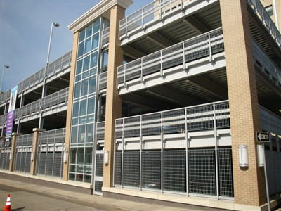 ARCHITECTURAL SECURITY GRILLES METRO DESIGN GALVANIZED AND POWDER COATED GRILLES AT THE BAUM SQUARE PARKING GARAGE IN PITTSBURG, PA. 009