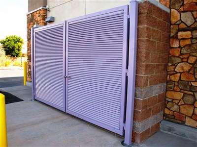 DOUBLE SWING GATES SHADOW 100 FIXED LOUVER DESIGN GALVANIZED AND POWDER COATED @ Wal-Mart Store in Chandler, Az  102